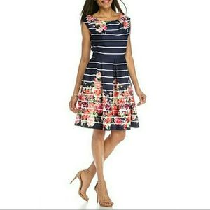 NWT Navy Floral Scuba Fit & Flare Dress